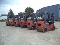 "2005 - 07 Toyota Model 7FGCU20, 4,000#, 4000# Cushion Tired Forklift, 118"" Lift"