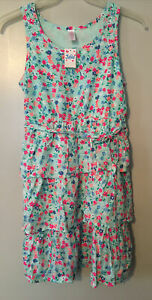 NWT Justice Girls Blue & Pink Sleeveless Floral Dress Size 18 Tiered Ruffle