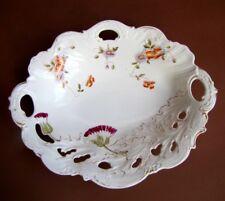 Ancienne Coupe à Fruits en Porcelaine Ajourée Rehaussé d'émail