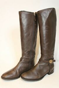 Tory Burch Womens 8.5 M Tall Brown Leather Riding Style Boots 31138 392