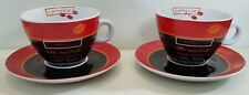 2 x Coffee Cups & Saucers. MF Design Black & Red cappuccino, espresso, latte. Vg
