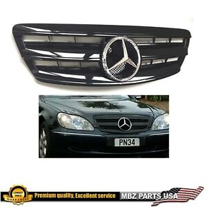 S430 S500 S55 S600 S-class all black grille chrome star AMG 2003 2004 2005 2006