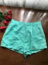 Mink Pink Women Dress Shorts M Aqua Tailored high waist pleat front linen cotton
