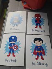 10 X 8 Print Boys Marvel Batman Superman Spiderman Captain America Bedroom Be...