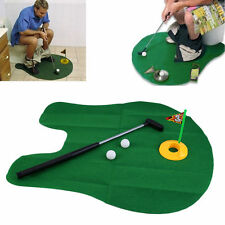 FUNNY TOILET POTTY  TIME GOLFER MINI GOLF MAT & PUTTER GAME SET