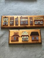 2 Pieces 3D Wooden Old Town  Wood Framed Wall Hanging Art Handmade By Willamson