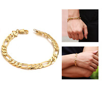 Gold Plated Men's Unisex Link Curb Fashion Chain Bracelet Gift Present UK