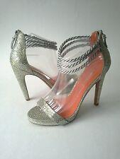 Via Spiga Heel Platform Penelope Canvas Leather Sparkle Sz 8.5 Sliver Gold  $225