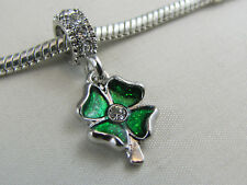 GREEN 4 LEAF CLOVER DANGLE CHARM W/- R'STONES EURO STYLE CHARM BRACELETS #DC 263
