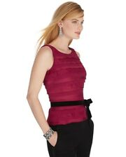 NWT WHITE HOUSE BLACK MARKET Red Lace Tiered Top - Size 4 - $120.00