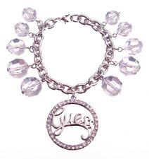 Guess Bracelet Silver Crystal Charm Fringe Script Logo Gift Jewelry