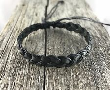 Black Waxed Cotton and Leather Bracelet / Wristband Anklet Mens Womens