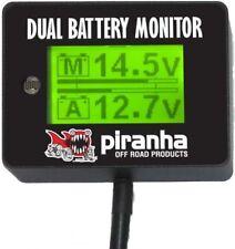 Piranha LCD Digital Dual Battery System Monitor 12 Volt Twin Display 4WD Gauge