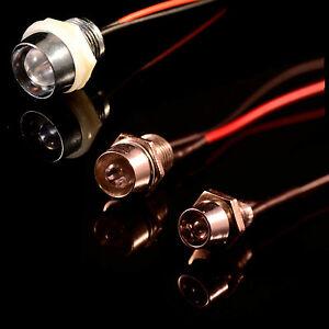12V Ultra-Bright 3mm 5mm 10mm Prewired LED with Chrome Bezel Holder All Colours