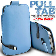 LEATHER PULL TAB POUCH SKIN CASE COVER & DATA CABLE FITS VARIOUS LG  PHONES