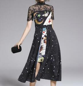 Vogue Women's Irregular Printed High Waist Slim Dress Cocktail Gown Lace Pieced