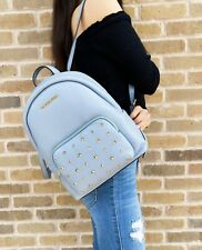Michael Kors Erin Medium Gold Studded Abbey Backpack Pale Blue Studded Leather