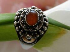 Antiker Ring 925° Silber / 585° Gold echter Karneol  Gr.58  Art Déco 1930 R193