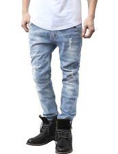 Mens SLIM JEANS Skinny Denim Washed Pants Fashion Ripped Hip Hop Casual
