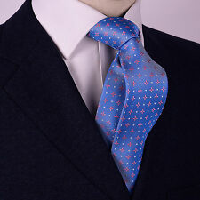 Pink 4 Point Star Diamond Studded Skinny Woven Tie Mens Pinwheel Fashion Necktie