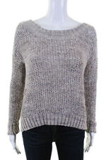 360 Sweater Womens Scoop Neck Long Sleeve Sweater Shirt Gray Cotton Size Small