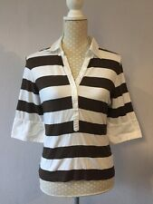 JAEGER brown / White Striped 3/4 Sleeves Fitted Polo Style Shirt Size M Uk 12 VG