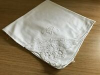 Vintage white napkin with lace detail to corner