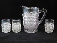 Antique Hobbs Brockunier Hobnail Dewdrop Glass Pitcher Jug and 3 Cups Glasses