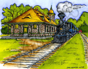 Vintage Train & Station Scene Wood Mounted Rubber Stamp NORTHWOODS P10264 New
