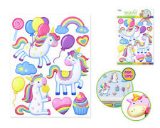 UNICORN PARTY wall stickers 11 colorful 3-D pop-up decal rainbow balloon cupcake