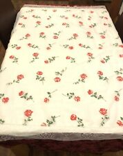 Large Vintage Table Cover Square White Red Roses Flowers Lace Trim