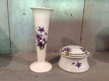 VINTAGE SMALL TRUMPET BUD VASE AXE VALE VIOLETS PAIRED WITH EARLIER TRINKET BOX