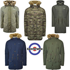 Lambretta Parka Coats Mens Jackets Fishtail Winter Warm Sherpa & Mesh Lined MOD