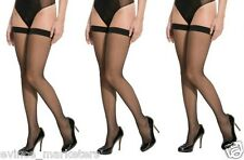 Women Sexy Black Lace Top Stay Up Thigh-Highs Stockings Tights (Pack of 3)