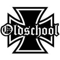 Iron Cross Oldschool Aufkleber Auto Eisernes Kreuz Schriftzug Schwarz die cut