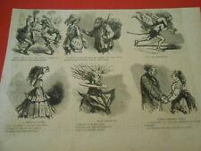 Gravure 1872 - Vignettes Caricature Modes Parisiennes redingote à la St Just
