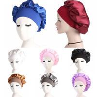 Women Wide Brim Sleep Cap Stretchable Band Night Hair Protect Sleep Bonnet Hat