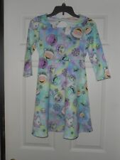 Girls Justice Holiday Blue Unicorn Emoji Skate Dress  Size 10 NWT