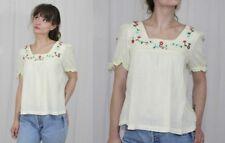 Vintage 70s Cream Cotton Gauze Floral Embroidered Retro HIPPY Boho Shirt Top S