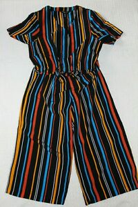 Striped black / blue/ orange playsuit by New Look, size 12 yrs