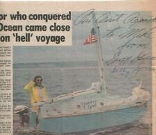 Gerry & Sally Spiess Autographed Newspaper Article 1979 Sailboat Solo Atlantic