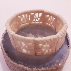 Antique 1920s Hand Carved Indian leaves Stretch Bracelet Artisan Design