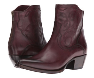New in Box FRYE Womens Shane Embroidered Short Western Boot Bordeaux 6 M $ 358