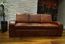 Braun Echtleder Rindsleder 3 Sitzer Sofa 100% Echt Leder Couch