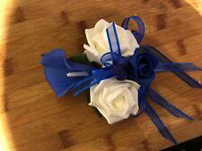 Ladies Wedding Wrist Corsage Royal Blue Calla Lily  & Ivory Roses  £12.99