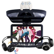 "Oct Sale Car Roof Flip Down CD DVD Player Monitor 9"" Screen Game USB SD Headset"