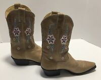 Double H HH Sonora Flower Snip Toe Cowboy Boots Size 8 1/2 Made in Mexico EUC
