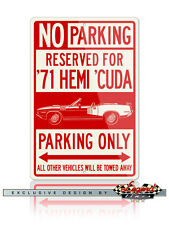 1971 Plymouth 'Cuda HEMI Convertible Reserved Parking Only 12x18 Aluminum Sign