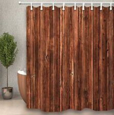 Rustic Brown Wood Grain Wall Fabric Bath Shower Curtain 84 Inches Extra Long