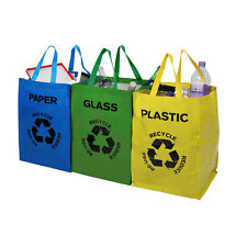 Recycle Bags Set of 3 Colour Coded Recycling Handles Sorting Glass Paper Plastic